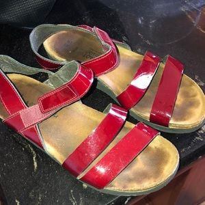 NAOT red patent sandals